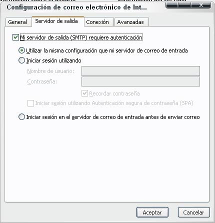 Marque mi servidor de salida requiere autentificación